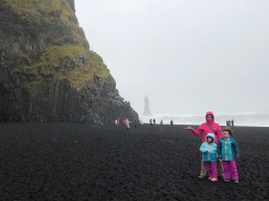 Look at the black sand beach!